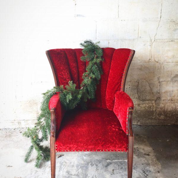 Vintage Red Velvet Chair