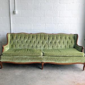 Vintage Green Velvet Sofa Pretty