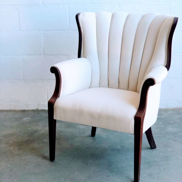 White Tufted Wingback Chair